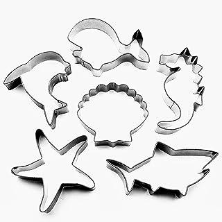 LAWMAN Sea Ocean Creature Cookie Cutters Set - 6 PCS - Whale, Shark, Dolphin, Seahorse, Starfish and Seashell Shape - Stai...