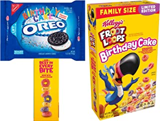 Happy Birthday Time Toucan Sam Strawberry Cake Froot Loops Kellogg cereal + Birthday Cake Flavor Cream Oreos Limited Edition Theme 2 pack