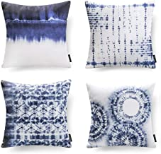 Phantoscope Set of 4 Porcelain Watercolor Printed Decorative Throw Pillow Case Cushion Cover, Blue and White, 18 x 18 inch...
