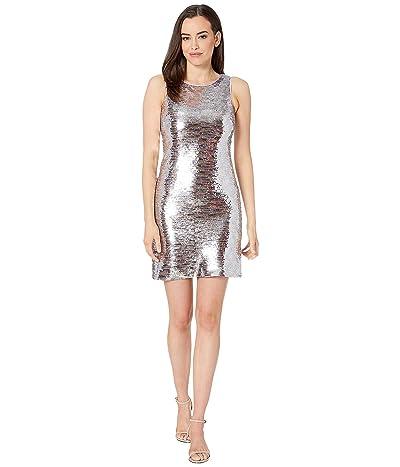 Vince Camuto Sleeveless Bateau Neck Sequin Dress (Pink Multi) Women
