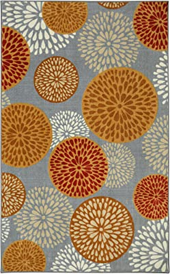 Mohawk Home Aurora Foliage Friends Warm Floral Medallions Printed Area Rug, 7'6x10', Gray and Orange