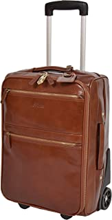 Leather Budget Airline Cabin Size Suitcase Wheeled Trolley Bag Valencia Chestnut Tan