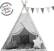 Tipi Enfants Tente Enfants Jouent Tente Coton Toile Childs Teepee Jouent Tente Playhouse avec Poteaux en Bois pour Enfants Gar/çons Filles Int/érieur 1.56m Hauteur