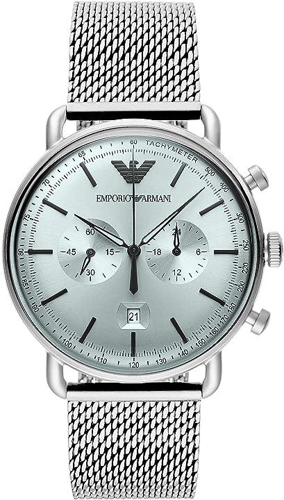 Orologio cronografo-aviatore emporio armani con cinturino in maglia di acciaio tono argento  ar11288