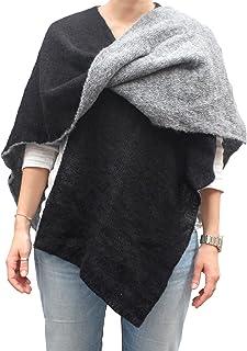 Mantella double face poncho aperto scialle fatto a maglia col. Nero e Grigio fatto in Italia Made in Italy
