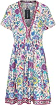 R.Vivimos Women's Short Sleeve Floral Print V Neck Cotton Tunic Dress