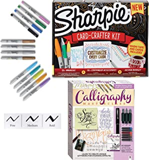 Cards Inking Lettering Guide & Calligraphy Pen Set Italic Cartridge Pen with Practice Masterclass Instruction Step Book & Card-Crafter Kit Markers Stationary Coloring