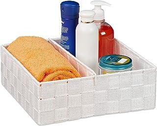 Relaxdays 10030249_1087 Panier de Rangement Polyvalent en Osier pour étagères et placards Blanc 9,5 x 26,5 x 26 cm, Large
