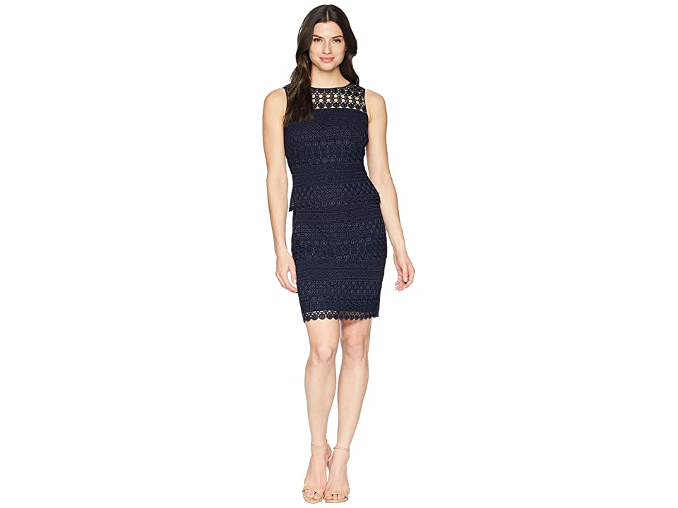 LAUREN Ralph Lauren 143B Nora Geo Lace Pepper Sleeveless Day Dress (Lighthouse Navy) Women
