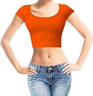 Action Ward Women's Basic Crop Top Scoop Neck Short Sleeve