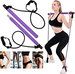 MEO Global Portable Pilates Bar Kit with Exercise Resistance Band, Exercise Pilates Bar with Foot Loop Toning Bar for Home...