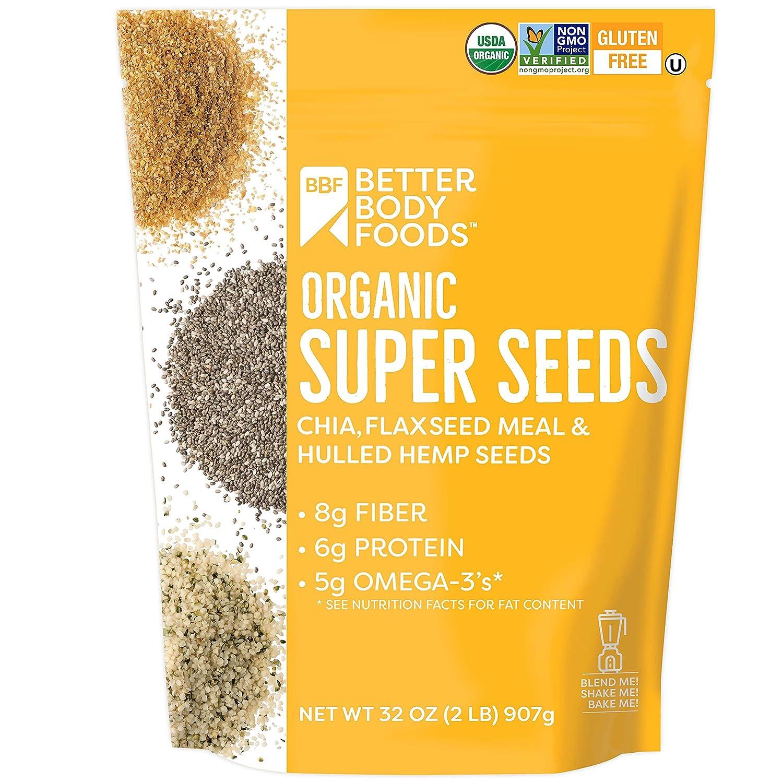 Superfood Organic Super Seeds - Chia Flax & Hemp 2lb Bag, 32 oz Bag, Blend of Organic Chia Seeds Organic Milled Flax Seed Organic Hulled Hemp Seeds, Add to Smoothies Shakes & More