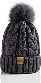 REDESS Women Winter Pompom Slouchy Beanie Hat with Warm Thick Fleece Lined Snow Cable Knit Skull Ski Cap