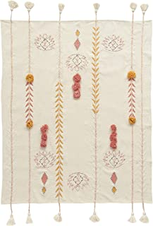 Creative Co-Op Embroidered Cream Cotton Decorative Applique, Pom Poms & Tassels Blankets and Throws, Off-White