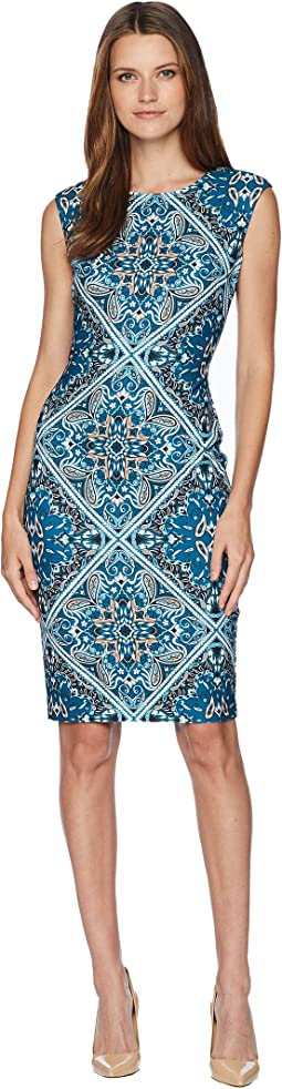 Printed Extended Cap Sleeve Bodycon