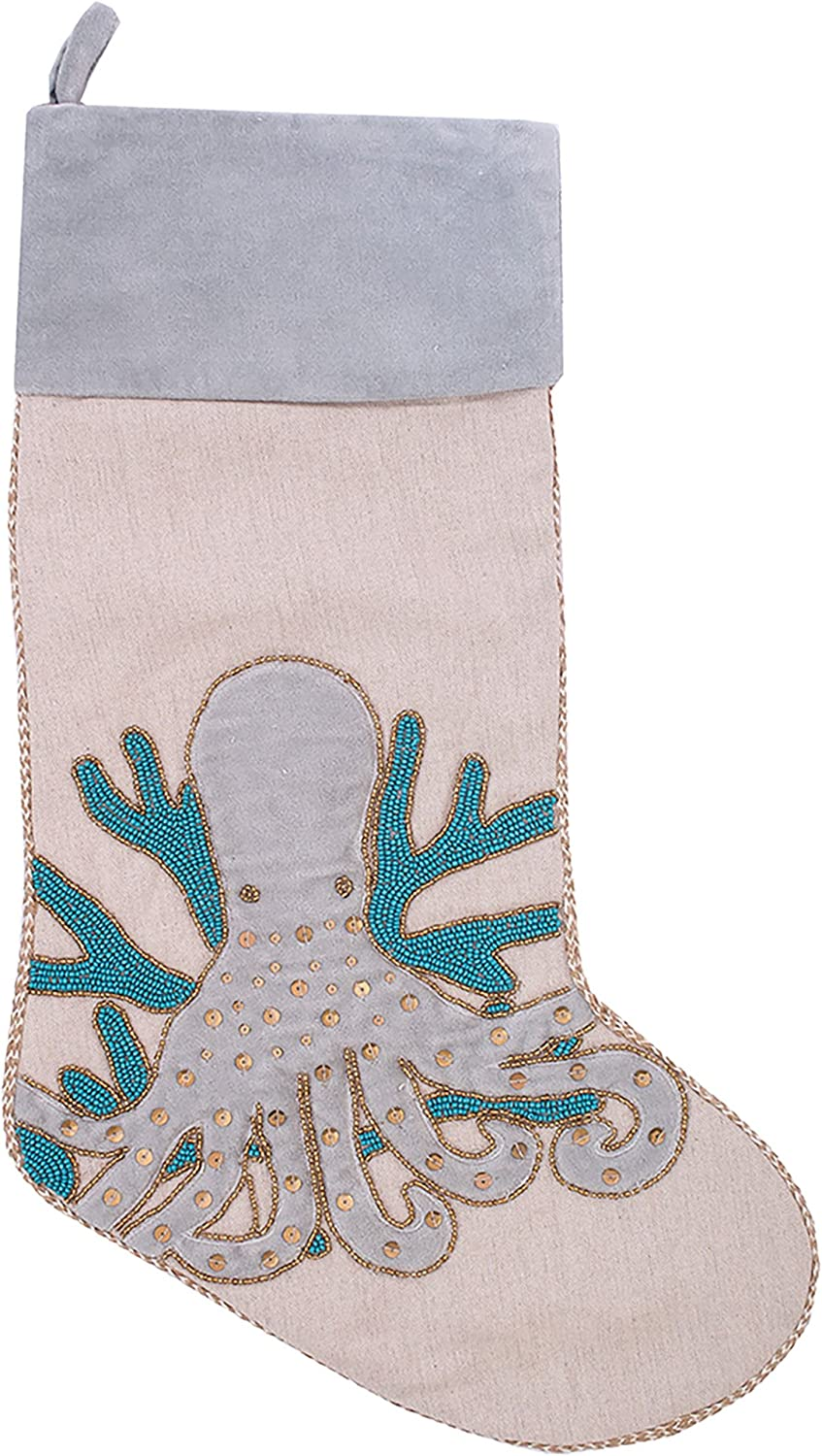 CF Home Holiday Serenity Blue Seattle Mall Stocking Octopus High material