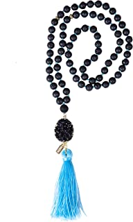 "AGENDA Amethyst Pendant Mala Necklace Lava Beads 19.8"" Essential Oil Diffuser"