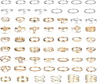 LOLIAS 61Pcs Knuckle Ring Sets for Women Bohemian Retro Vintage Mid Stackable Rings Crystal Joint Stacking Finger Rings