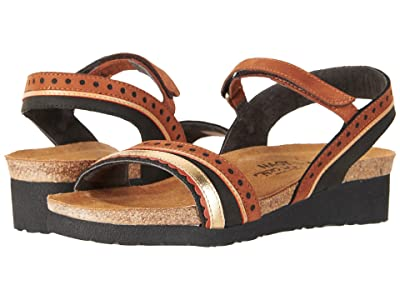 Naot Beverly (Black Velvet Nubuck/Hawaiian Brown Nubuck/Gold Leather) Women