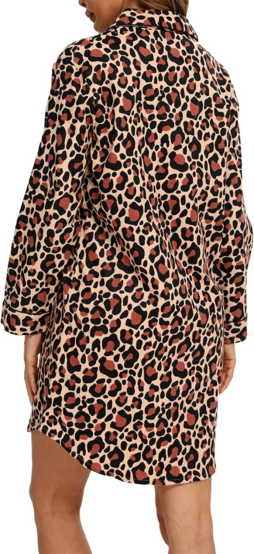 ENJOYNIGHT Womens Sleep Shirt Flannel Print Pajama Top Button-Front Nightshirt Sleepwear