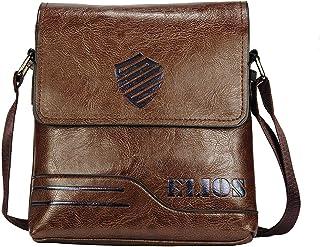 Elios Coffee PU Leather Crossbody Travel Work Wear Messenger Bag For Men