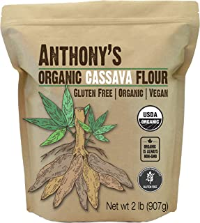 Anthony's Organic Cassava Flour, 2lbs, Batch Tested Gluten Free, Vegan, Non GMO