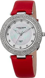 Akribos XXIV Women's AK1008RD Quartz Diamond, Crystal, & Mother-of-Pearl Dial Leather Strap Watch (Red)
