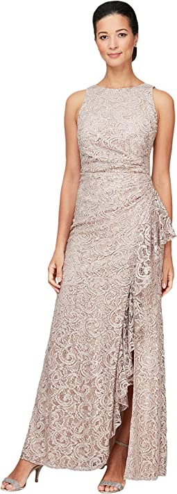 Long Sleeveless Sequin Lace Dress with Ruffle Detail Skirt