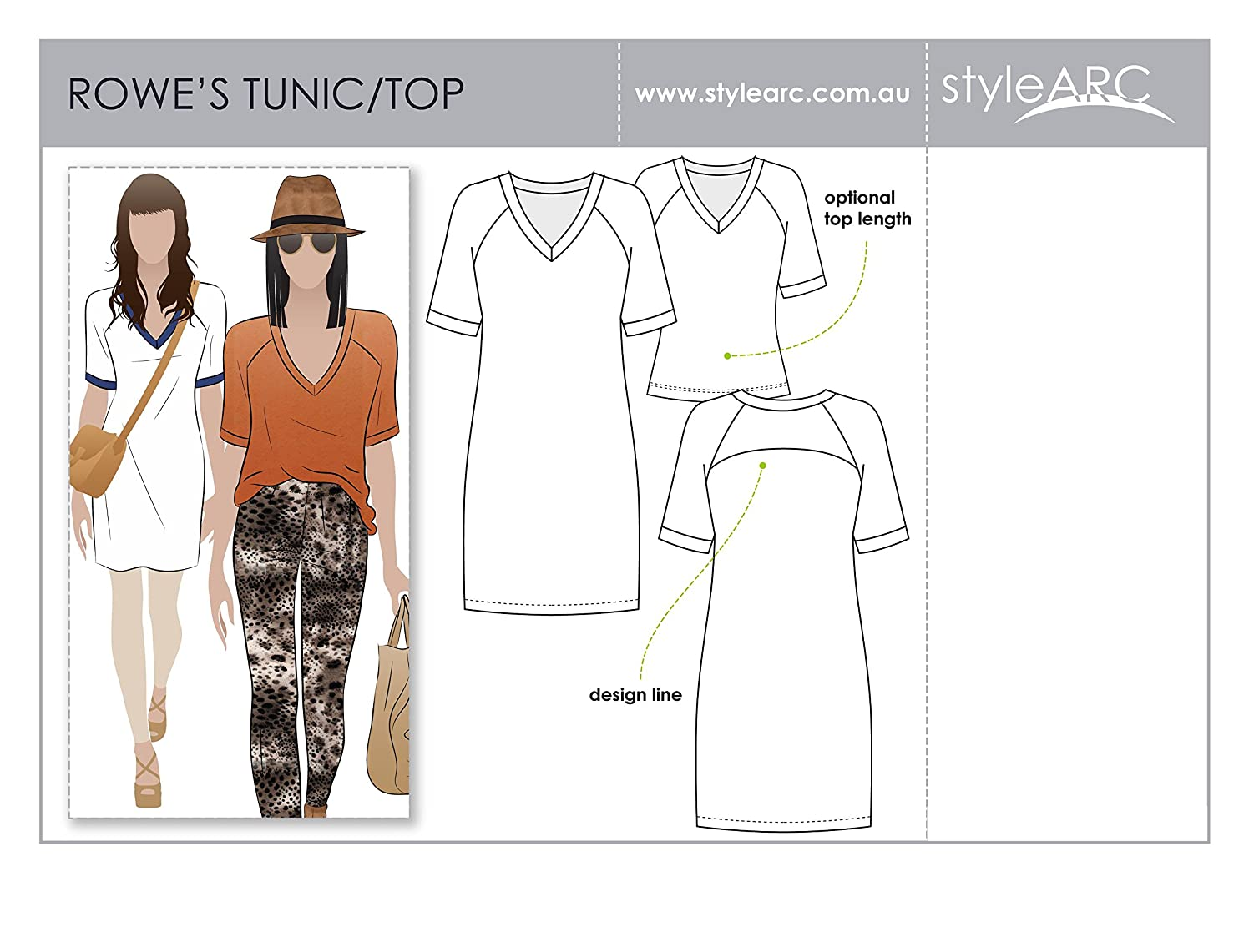 Style Arc Sewing Pattern - Rowes Raglan Tunic Top - Sizes 4-16 - Click for Other Sizes Available