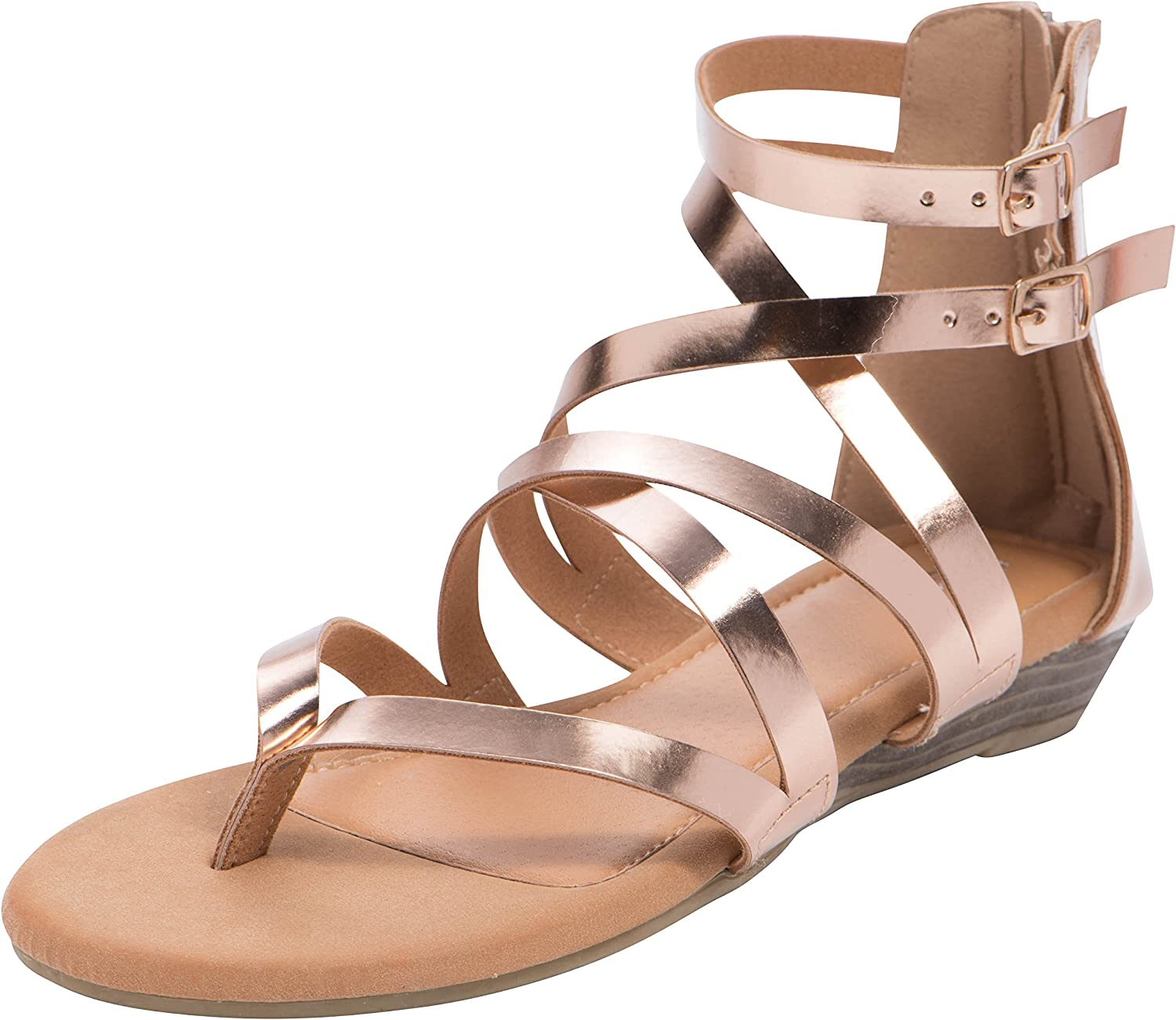 Cambridge Select Women's Open Toe Crisscross Buckled Ankle Strappy Low Wedge Sandal