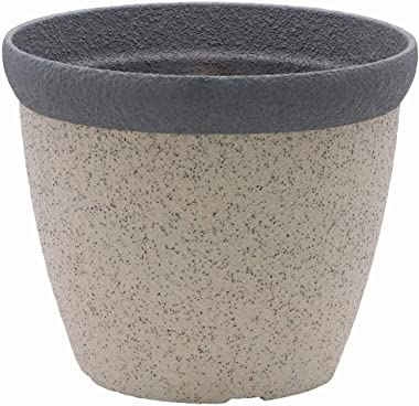 4-Pack 13-in. Round Two Tone Faux Stone Resin Flower Pot Garden Potted Planter Indoor Outdoor, Grey and White