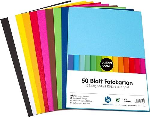 perfect ideaz 50feuilles A4 de carton photo, de carton de bricolage, teinté dans la masse, en 10coloris différents,...