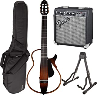 Yamaha SLG200N TBS Nylon Silent String Acoustic Electric Guitar (Tobacco Sunburst) bundled with the Fender Frontman 10G Electric Guitar Amplifier, Gigbag, and Guitar Stand