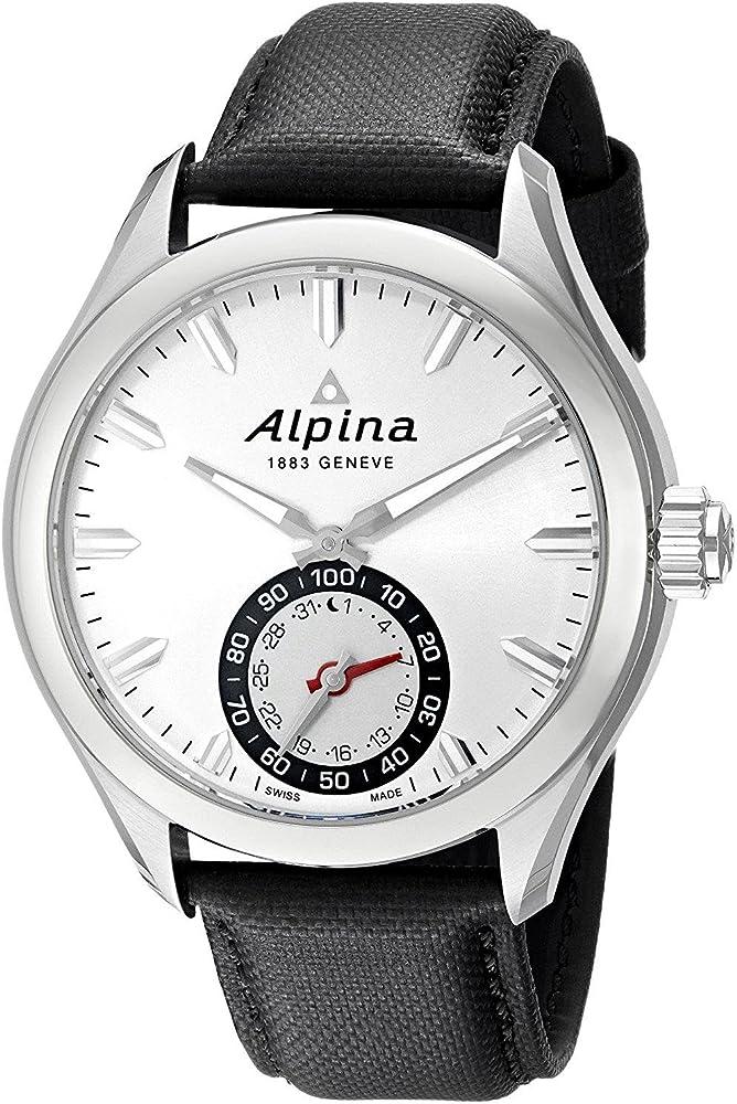 Alpina orologio analogico uomo con cinturino in pelle e cassa in acciaio inossidablie AL-285S5AQ6