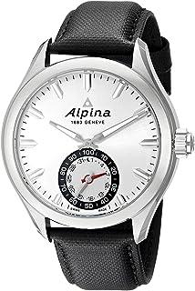 Alpina Horological Smartwatch Mens Fitness Watch - 44mm Silver Face Swiss Quartz 2 Year Battery Life Running Watch - Black...