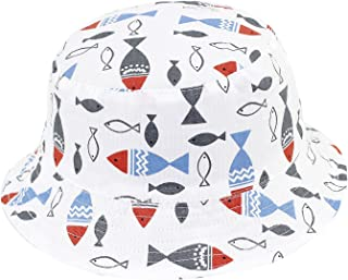 Home Prefer Baby Floppy Brim Soft Cotton Bucket Hat with Strap Cute Animal Pattern Sun Protection Cap #49
