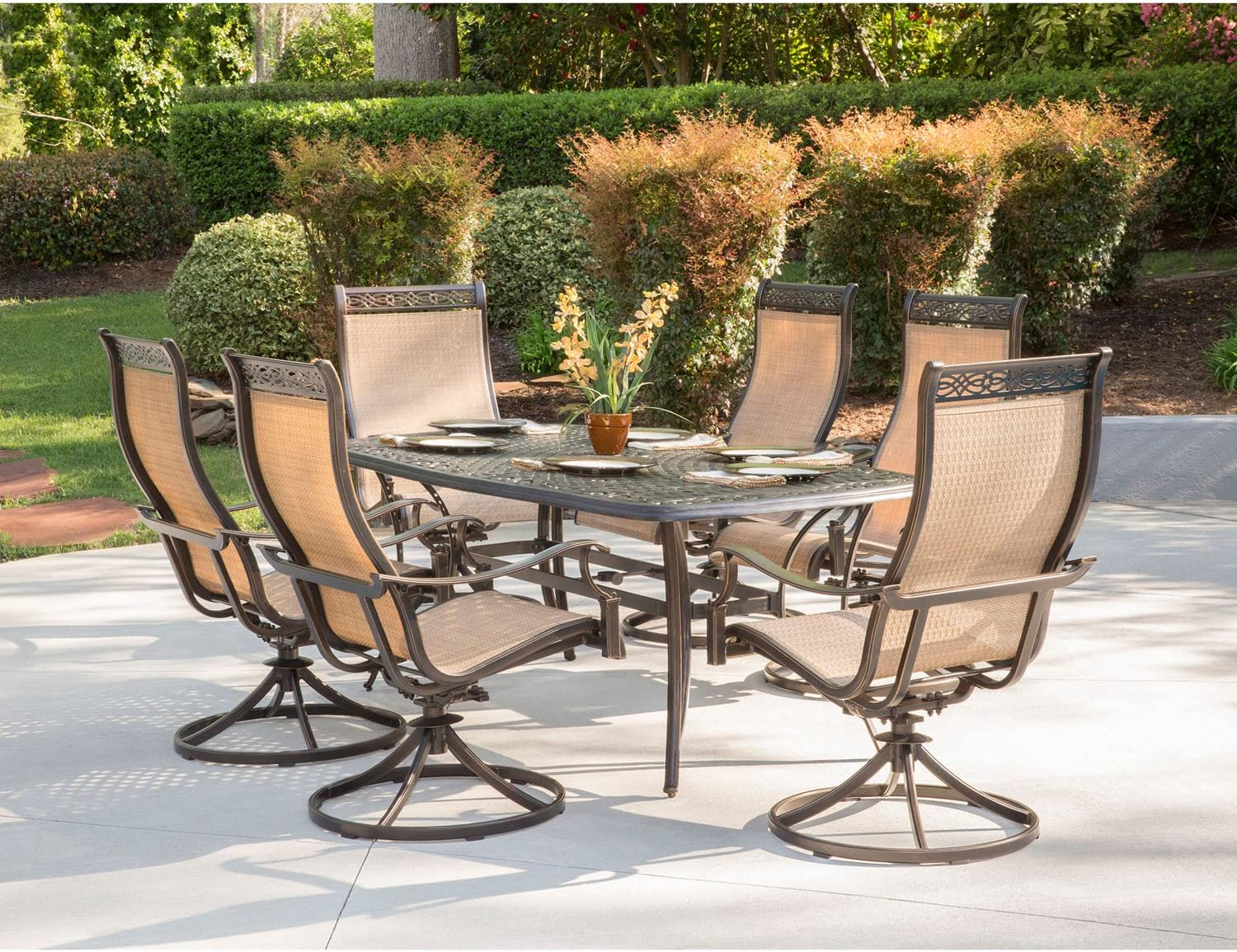 Hanover MANDN7PCSW-6 Chairs and New mail order Rectangle Table Cast B Aluminum Max 56% OFF