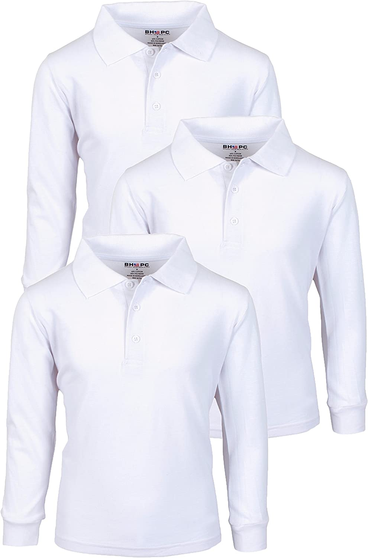 Beverly Hills Polo Club Boys Long Sleeve School Uniform Pique Polo Shirts (3 Pack)