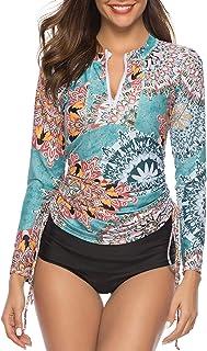 Caracilia Women's Long Sleeve Half-Zip Sun Protection Rashguard Side Adjustable Swim Shirt