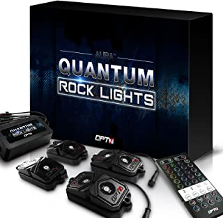 OPT7 Quantum 4pc LED Rock Lights - RGBW Multicolor w/remote - Dimmer Strobe Fade IP67 Waterproof Pods for Off Road, Crawling, and Climbing - 2 Year Warranty
