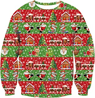 Unisex Ugly Christmas Sweater 3D Printed Funny Graphic Pullover Sweatshirts for Party