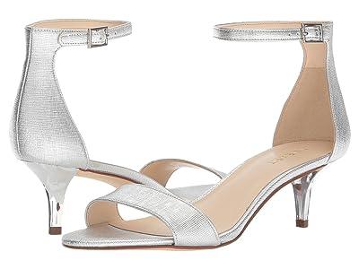Nine West Leisa Heel Sandal (Silver Etched Metallic PU) Women