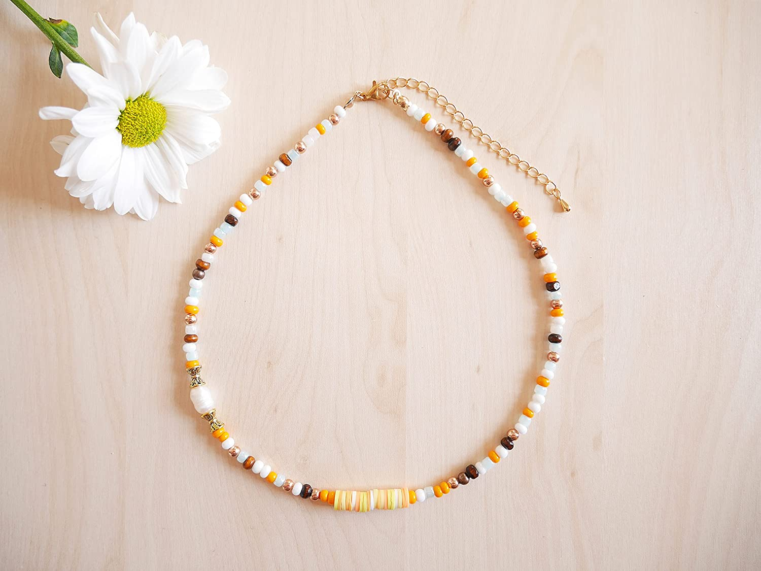 Beaded summer necklace - tropical with glass colorful Low price Choice