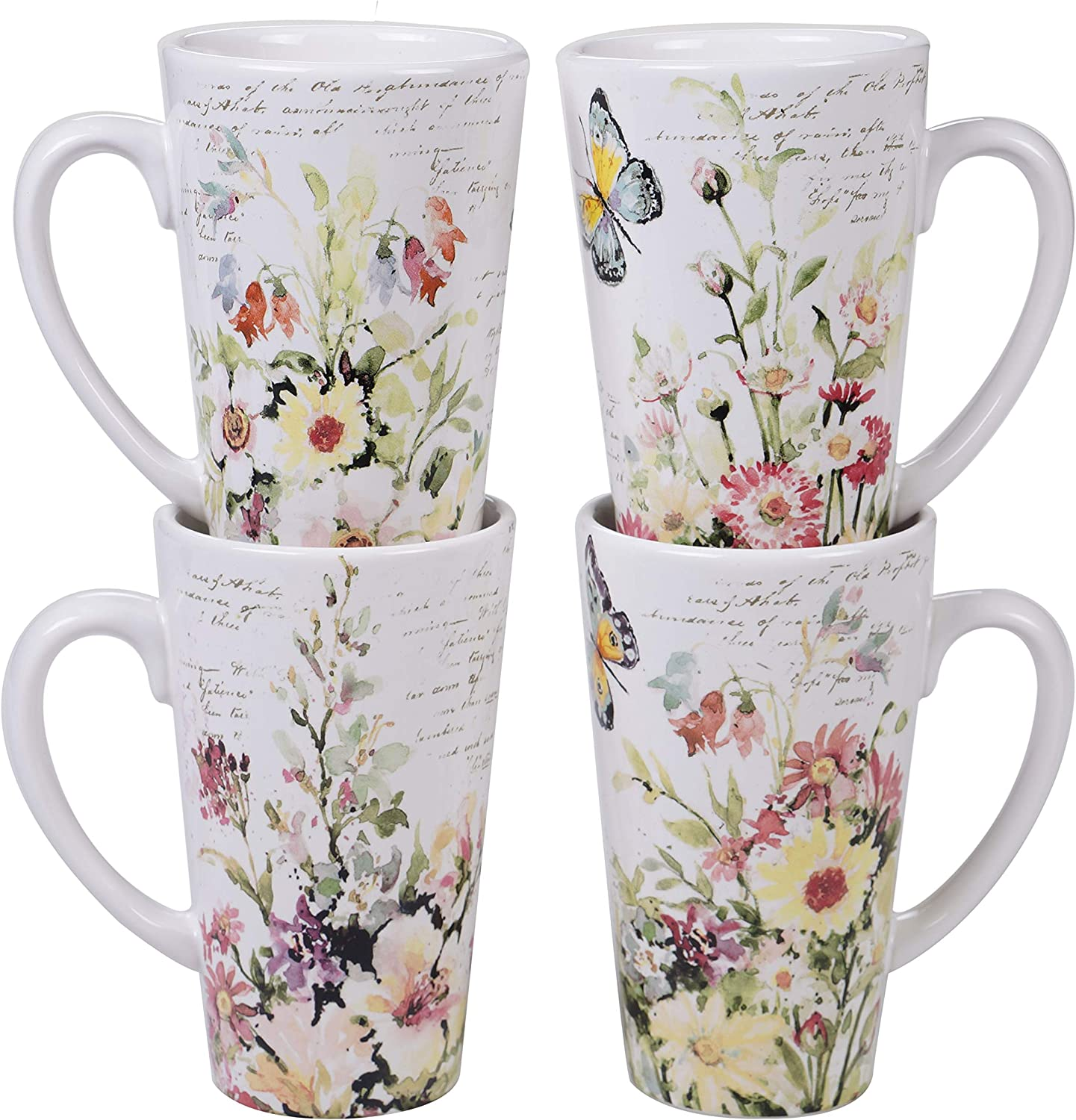 Certified International Spring Meadows 16 Max 54% OFF Latte National products of oz. Mugs Set