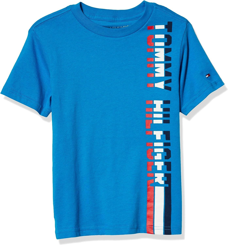 Tommy Hilfiger Boys' Short Sleeve Neck Many popular brands Logo Crew trust Vertical T-Shir