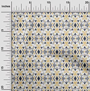 oneOone Viscose Chiffon Fabric Triangle Ikat Print Sewing Fabric by The Meter 42 Inch Wide