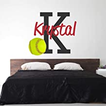 Softball Custom Name Wall Decal - Boys Girls Personalized Name Softball Sports Wall Sticker - Custom Name Sign - Custom Name Stencil Monogram - Boys Girls Room Wall Decor …