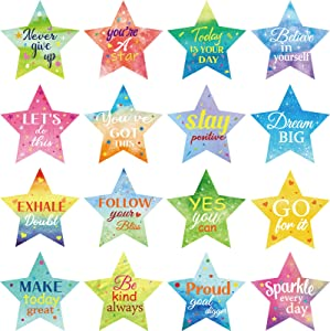 64 Pieces Star Confetti Positive Sayings Accents Motivational Sayings Cutout Inspirational Colorful Star Shaped Quotes Paper-cuts for Classroom Bulletin Board, Home Décor