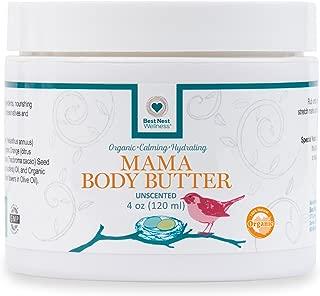 Best Nest Mama Body Butter | 100% Organic, Stretch Mark Belly Balm Cream, Intensive Moisturizer, Unscented, 4 Oz