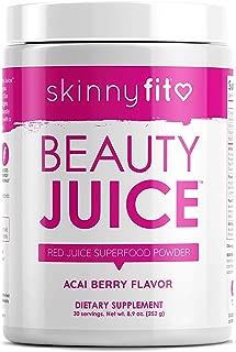 SkinnyFit Beauty Juice, Red Superfood Powder, Acai Berry Flavor - Anti-Aging, Aids in Digestion, Boosts Vitality, Prebiotics & Probiotics, 30 Servings